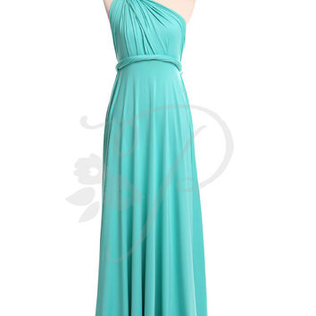 Bridesmaid Dress Infinity Dress Turquoise Floor Length Wrap Convertible Dress Wedding Dress