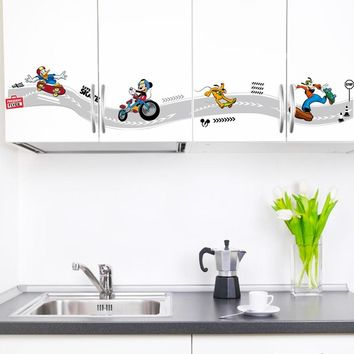 Mickey Mouse Play skateboard Funny Skiting Line For Kitchen Kids Boys Bedroom Mural Decorative Wall Sticker Decor Decal