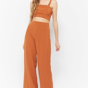 Pinstriped Wide-Leg Pant