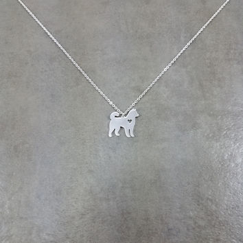 Husky Dog Silver Necklace