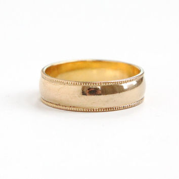Vintage 10k Yellow Gold Filled Wedding Band Ring - 1940s Size 8 Hallmarked Clark & Coombs Milgrain Edging Jewelry