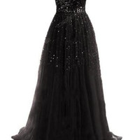 Beautiful Sleeveless Beading Chiffon Maxi Prom Dress - Black