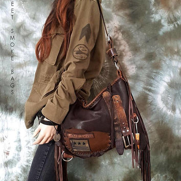 Brown distressed leather bag few tones fringe fringed hobo tribal military bohemian boho army purse sweet smoke free people  bag moroccan