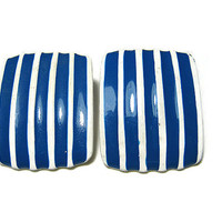 Enameled White and Blue Vintage Earrings Clip On Rectangle Womens