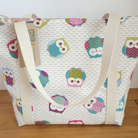 Owl Bag, Gift For Her, Canvas Shopping Tote Bag, Owl Lovers Gift For New Mom, Diaper Bag, Cute Owl Fabric, Lined Beach Bag, Cloth Shopper