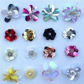 6Pcs/Lot Decorative Handmade Sequins Beads Flower Applique Patches ,Hair Clip,Bags,Brooch,Clothes Sew on,Glue on DIY Accessories