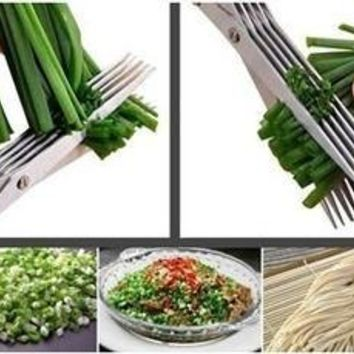 Hand Scissors Shredded Shredding Kitchen Cutter Protect Security Stainless Steel Multifunctional 5 Layers Shears Blade (Color: Green) [8361481735]