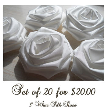 "Set of 20, 3"" Handmade White Silk Roses for DIY Weddings, Bouquet Making, Cake Toppers, Corsages, Boutonnieres,  Made to Order."
