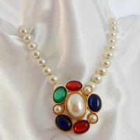 Vintage Necklace, Brooch by AVON,  Jewel tone and Pearl, Jeweled Classics 1983
