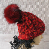 Pom Pom Beanie Knitted Hat for Women Winter Pom Pom Hats Red Melange Knitted Hat  Faux Fur Pom Poms