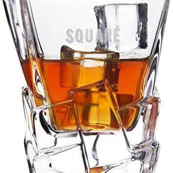 "Premium Crystal 11 Oz. Whisky Glasses Set of 2 | Fun ""Square Deal"" Theme Makes Prime Men's Corporate Gift Idea for Christmas Holiday 