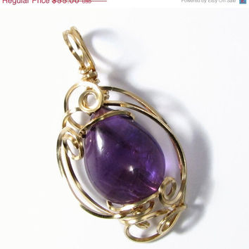 Summer SALE Genuine Amethyst 14k Gold Filled Wire Sculpted Petite Pendant Necklace with chain