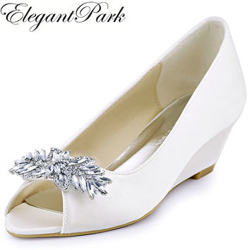 ElegantPark WP1564 Women Wedges Peep Toe Mid Heels Rhinestones Wedding Pumps Bridal Shoes