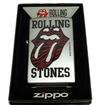 Zippo Custom Lighter - Rolling Stones Red Tiger Printed Lips and Tongue Logo - Regular Satin Chrome 205CI402164