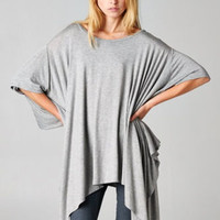 NEW FALL Slouchy Oversized Yoga Lounge Shark Bite Tunic Poncho Top - GRAY O/S