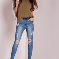 Missguided - Sinner High Waisted Marbled Skinny Jeans Light Blue