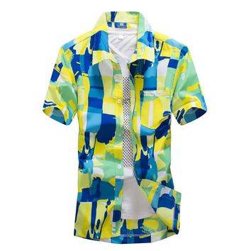 Brand Tropical Hawaiian Shirts Full Floral Men's Short Sleeve Casual Beach Party Shirts Tops Fast drying Asian Size L-4XL
