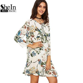 SheIn Boho Casual Straight Dresses For Women White Tropical Floral Print Round Neck Long Sleeve Swing Short Dress