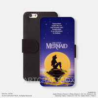 Little Mermaid Disney Sun Movie Poster iPhone leather wallet cover Free Shipping iPhone 6 6 Plus 5S 5C case cover Samsung Galaxy S3 S4 S5 Note 2 Note 3 Note 4 case cover 794