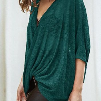 Green Plain Draped V-neck Elbow Sleeve Fashion T-Shirt