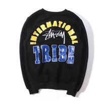 DCCKUNT Stussy Tribe Embroidered Womens Color Blocking Sweater Pullovers