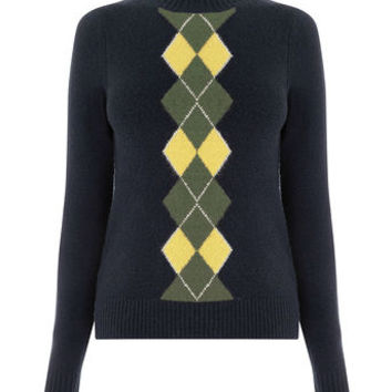 ARGYLE HIGH NECK JUMPER
