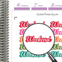 Weekend Stickers Planner Stickers Weekend Planner for Erin Condren Planner Happy Planner Weekend Banners Weekend Rainbow Stickers (i76)