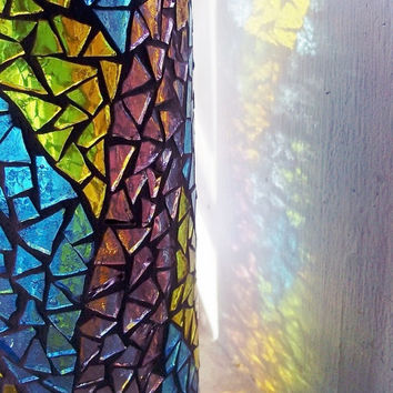 Stained Glass Mosaic Vase: Candle Holder, Lemon Yellow, Aquamarine, Mauve
