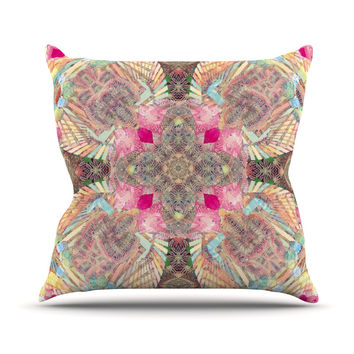 "Danii Pollehn ""Indian Clash"" Pink Multicolor Outdoor Throw Pillow"