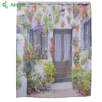 Spanish Garden House Shower Curtain 180x180cm/150 * 180 cm Waterproof  Polyester Shower Curtain Bathroom Decorations