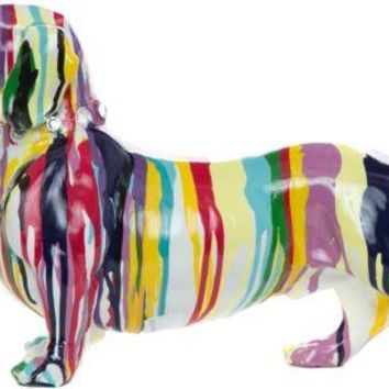 Dog Figurines GRAFFITI Resin Multi Color DACHSHUND Table Decor Gift Accent Home