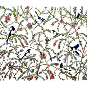 Art print. Illustration. Pattern. Magpies print. Home decor. 'Magpies and Red Berries'