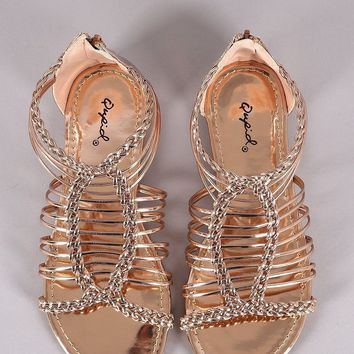 Qupid Metallic Braided Woven Gladiator Flat Sandal