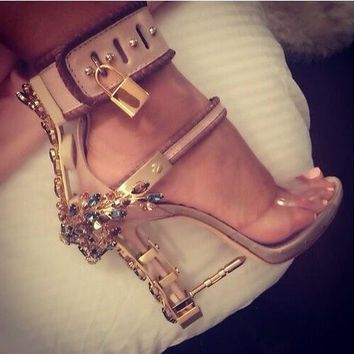 rihanna stylish diamonds sandals padlbock high heels crystal luxury PVC heels metallic