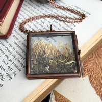 Moss Glass Locket Necklace - Antiqued Copper