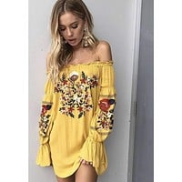 Sunflower Embroidered Dress