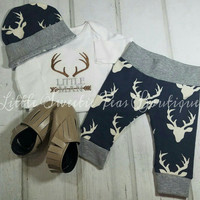 Baby Boy Embroidered Little Man Deer Outfit set Nb-24 mo