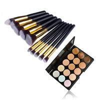 【Buy 1 Get 1 FREE 】Profession 10pcs Makeup Brush Kit Pince & 15 Color Concealer Palette Womens Gift