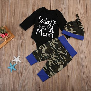 Cute Baby Boys Cotton Clothes Set Newborn Baby Boy Tops Romper Camouflage Pants Leggings Hat 3Pcs  New Outfits Clothes Sets