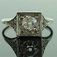 Antique Diamond Ring  18k White Gold with Mine by SITFineJewelry