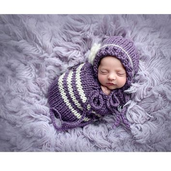 Newborn baby purple crochet hat + sleeping bag photography prop