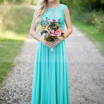 2016 New Arrival Turquoise Bridesmaid Dresses Scoop Neckline Chiffon Floor Length Lace V-Back Long Bridesmaid Dress for Wedding