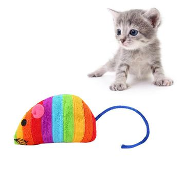 2018 New Pet Cat Toy Mouse Shape Cloth Toy Rainbow Color Interactive Toy #NE802