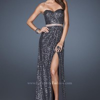 La Femme 18918 Charcoal Evening Gown