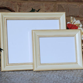 Shabby chic photo frames: Set of 2 vintage antique ivory hand-painted decorative wooden wall collage gallery picture frames