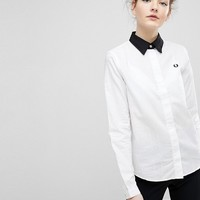Fred Perry Tonal Check Detail Shirt with Contrast Collar at asos.com