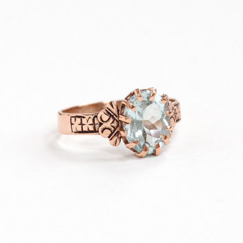 Antique 10k Rose Gold Aquamarine Solitaire Ring - Victorian Icy Blue Oval Gemstone Flower Motif Engagement Fine Jewelry March Birthstone