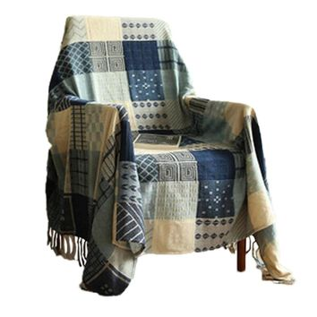 Cotton Woven Couch Throw Blanket, Comfortable Blanket for Sofa and Armchair