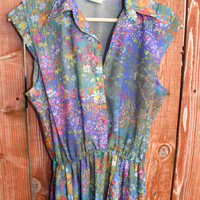 Watercolor Floral Lady Like 70s Dress