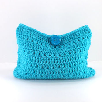 Crochet turqua make up bag, crochet cosmetic bag, crochet mini bag, fashion make up bag 2014